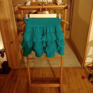 Aqua Ruffled Mini Skirt